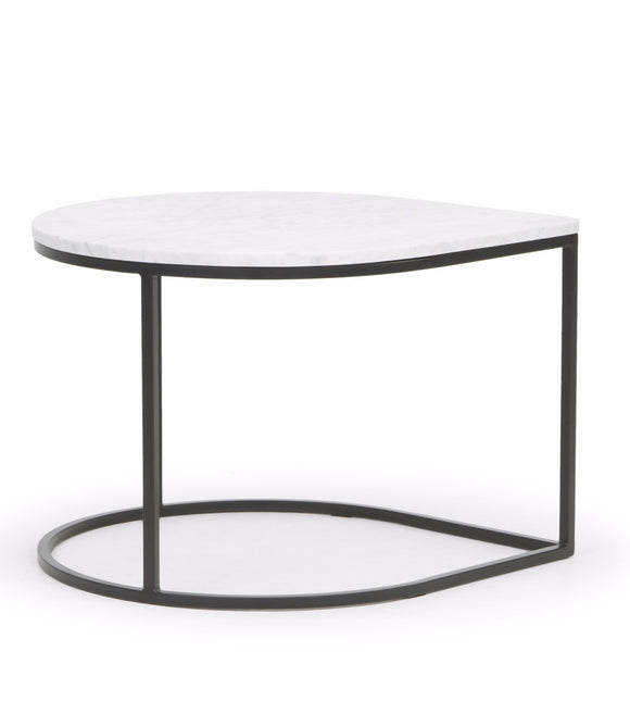 Scandinavian Design Drop Coffee Table with a White Marble Top and Steel Legs