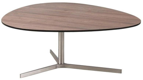 Actona Plector Coffee Table Walnut Brushed Nickel Base Rounded Triangular