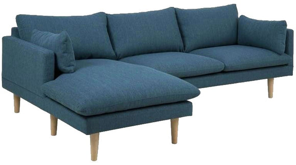 Actona Sunderland Corsica Dark Blue RAF (Chaise On Right) Fabric Sectional Sofa Natural Wood Leg