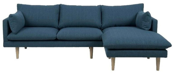 Actona Sunderland Sectional Corsica Dark Blue RAF (Chaise On Right) with Birch Legs