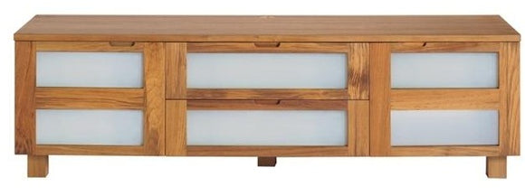 Sun Company 331010 TV Stand in Teak and Frosted Glass