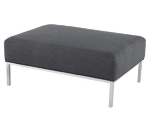 Nuevo Bryce HGSC370 Ottoman with a Storm Grey Fabric Seat and Metal Legs