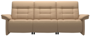 Ekornes Stressless Mary Power Reclining Sofa with Sand Paloma Leather and Walnut Legs