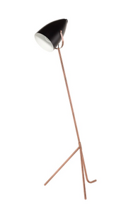 Nuevo Austin HGSK167 Floor Lamp with a Black Matte Metal Shade and Copper Stand