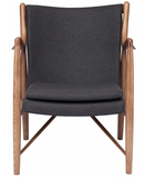 Nuevo Chase HGEM664 Occasional Chair with a Dark Grey Fabric Seat and Ash Stained Walnut Legs