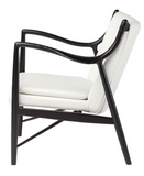 Nuevo Chase HGEM633 Occasional Chair with a White Leather Seat and Black Frame