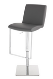 Nuevo Lewis HGAF339 Adjustable Stool with a Grey Naugahyde Seat and Steel Base