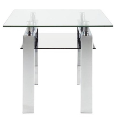 Actona Calem End Table in Glass, Black Glass, and Chrome