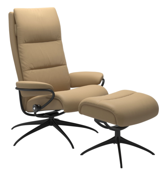 Ekornes Tokyo Recliner with Ottoman in Sand Paloma Leather and Matte Black High Base