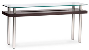 BDI Furniture 2323 Console Table in Espresso Wood, Glass, and Steel Legs