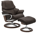 Ekornes Stressless Reno Medium Recliner with Ottoman in Chestnut Paloma Leather and Walnut Wood Signature Base