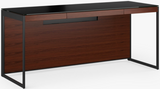 BDI Furniture Sequel 6101 Desk in Chocolate Walnut Wood; Black Powder Coat Legs; Black Glass Top
