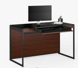 BDI Furniture Sequel 6103 Compact Desk in Chocolate Walnut Wood; Black Powder Coat Legs; Black Glass Top