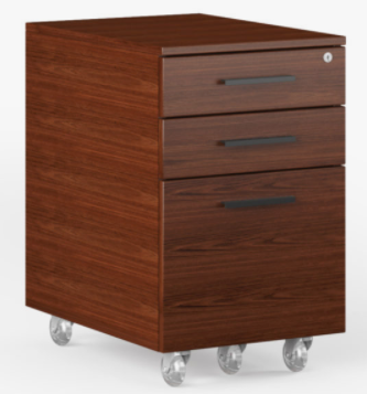 BDI Furniture Sequel 6107 Mobile File Cabinet in Chocolate Walnut Wood and Black Powder Coat Accents