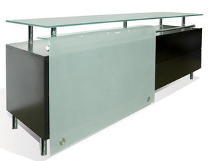 Star Bellini BU2 Sideboard with Dark Walnut Wood, Glass, and Steel