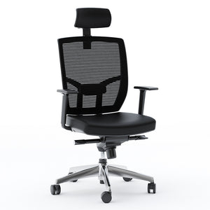 BDI Furniture TC-223 DHF Black Leather Black Mesh Office Chair Chrome Base Office Chair Height Adjustable Ergonomic