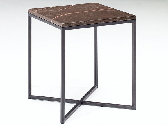 Natuzzi Italia T111XM0 Titano End Table with a Brown Marble Top and Metal Legs