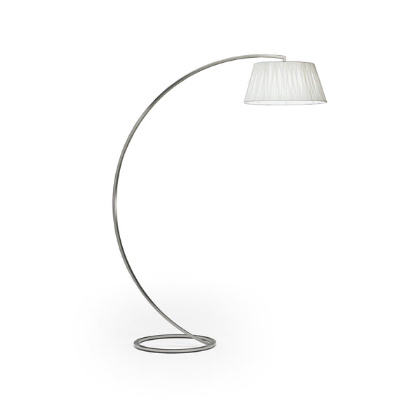Natuzzi Italia L476PTU Wisdom Floor Lamp with a White Fabric Shade and Nickel Base