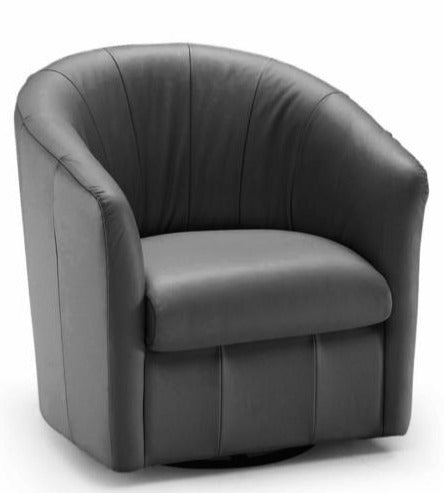 Natuzzi A835 Swivel Chair in a Black Leather
