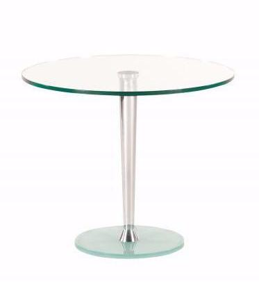 Actona Becca Round End Table Chrome Clear Frosted Glass Occasional Accent Table