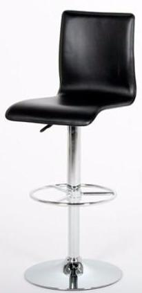 Actona Dallas Black Leather Chrome Height Adjustable Hydraulic Bar Stool