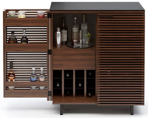 BDI Furniture Corridor Bar Chocolate Walnut Black Glass