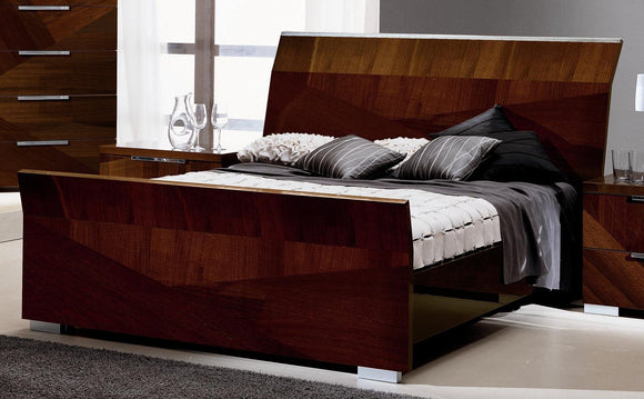 ALF Italia Capri Queen & King Bed Walnut High Gloss