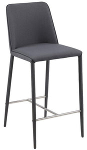 Actona Avanja Dark Grey Fabric Counter Stool Chrome Contemporary