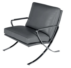 Ital Studio C616 Pierre Occasional Chair in Grey Leather and Metal Legs