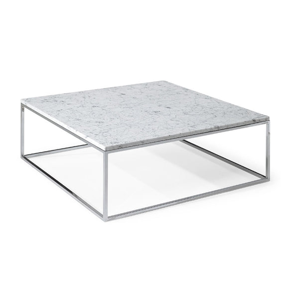 Natuzzi Italia T100FM3 Cabaret Coffee Table with a White Marble Top and Chrome Base