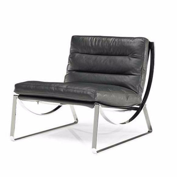Natuzzi Italia 2715 Cammeo Occasional Chair with a Black 30 Grade Leather Seat and Metal Legs
