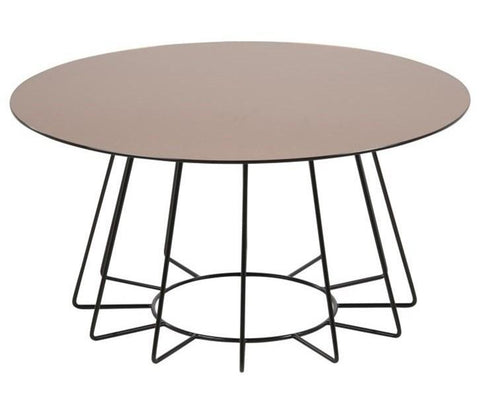 Actona Casia Round Coffee Table Brozne Mirrored Top Black Metal Base