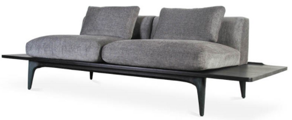 Nuevo Salk HGDA605 Sofa with a Graphite Fabric Seat and Black Legs