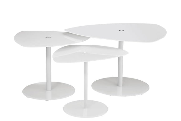 Actona Charon 3 Tier Coffee Table 3 Pieces Triangular White Glass