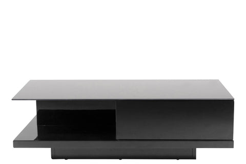Actona Cliff Black High Gloss  Storage Coffee Table Contemporary