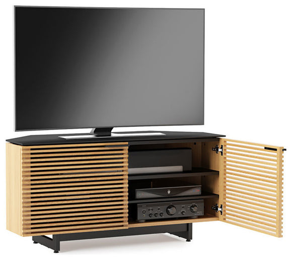BDI Corridor 8175 With Two Compartments Corner  TV Media Stand White Oak