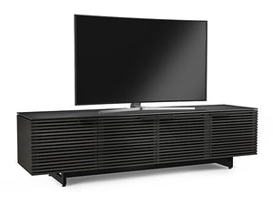 BDI Furniture Corridor 8173 TV Stand in Charcoal Wood, Micro-etched Glass Top And Black Steel Legs