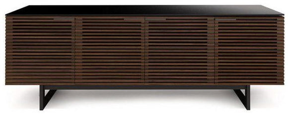 BDI Furniture Corridor 8179 TV Stand in Chocolate Walnut, Black Micro-Etched Glass Top and Steel Legs