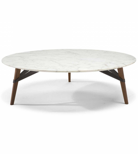 Natuzzi Italia Svevo Coffee Table in a Marble Gold Top and Walnut Wood Legs