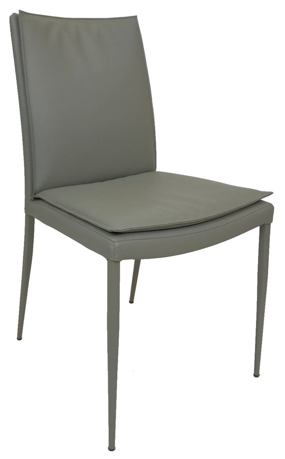 Ital Studio Max Soft Dining Chair with a Light Grey Leather Textile Seat and Grey Powder Coat Legs
