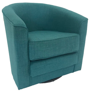 Actona Tub Occasional Chair with a Rio Turquoise Fabric Seat and Black Steel Base