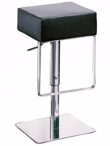 Dan-Form Ben Barstool in Black Leather Seat and Chrome Base