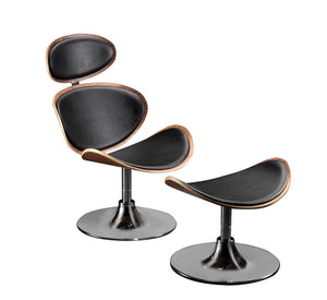 Dan-Form Curve Occasional Chair with Black Leather, Walnut, and Chrome