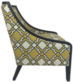 Kuka A825 Occasional Chair with a Yellow/White Fabric Pattern and Wenge Wood