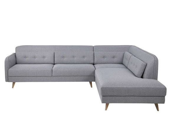 Actona Desoto Chile Silver Grey RAF Sectional Sofa Scandinavian Wood Leg