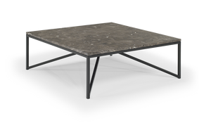 Natuzzi Italia T111XM3 Titano Coffee Table with a Brown Marble Top and Metal Legs