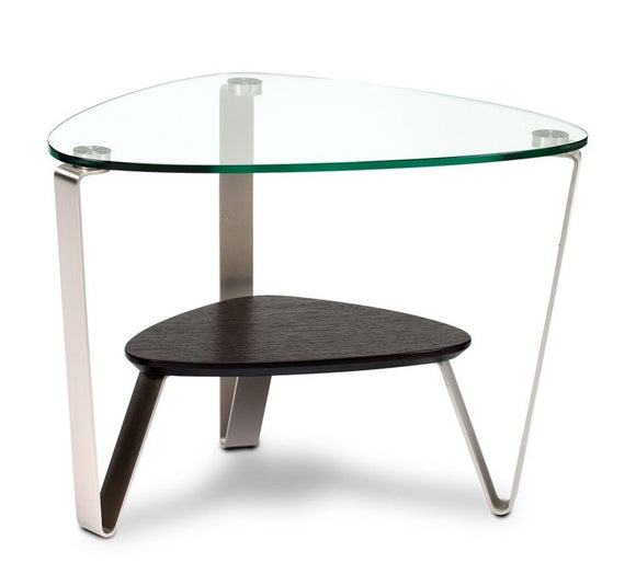 BDI Furniture Dino 1347 Espresso; Glass; Satin-Nickel Plated Steel End Table