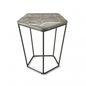 Natuzzi Italia T108MOS Chocolat End Table with a White Marble Top and Metal Legs