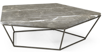 Natuzzi Italia T108F54 Chocolat Coffee Table with a White Marble Top and Metal Legs