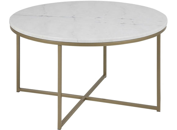 Actona Alisma Coffee Table with a White Marble Top and Light Brass Base